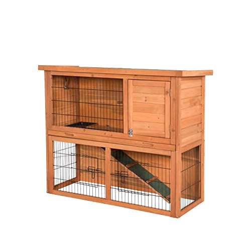 (Kinbor Outdoor Wooden Bunny Hutch Hen Duck Coop Large House Removable Tray & Ramp & Run Area (Rabbit Hutch 2-Story))