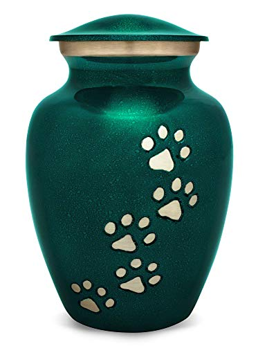 Best Friend Services Ottillie Paws Series Pet Urn (Large, Marine Green with Vertical Pewter ()