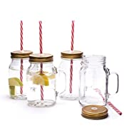 CKB LTD® Set of 4 Traditional American Old Style Mason Pint Jar Drinking Glasses With Sturdy Handle Screw Cap Lid & Straw- Ideal For Enjoying Your favourite Cold Beverage - Ideal for Traditional Lemonade / Iced Tea old Ale