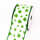 LUV RIBBONS Creative Ideas Wired St. Patrick's Day Print Ribbon, 2-1/2-Inch, White