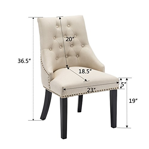 LSSBOUGHT Set of 2 Fabric Dining Chairs Leisure Padded Chairs with Black Solid Wooden Legs,Beige by LSSBOUGHT (Image #2)
