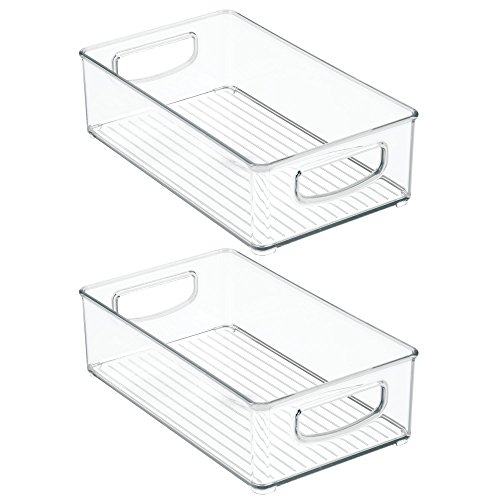 InterDesign Home Kitchen Organizer Bin for Pantry, Refrigerator, Freezer & Storage Cabinet, Set of 2, 10-Inch by 6-Inch by 3-Inch, Clear