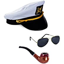 Tigerdoe Yacht Captain Hat and Sailor Hat With Corn Cob Pipe & Aviator Sunglasses Sailor Costume by