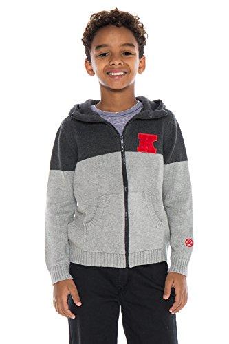Alma Mater NCAA Kansas Jayhawks Boys Color Block Cardigan, 4 Tall, Dark Grey/Light Grey ()