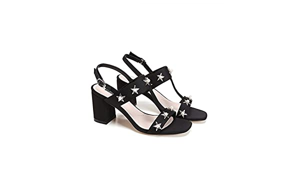 Thick With Wild Fashion Sandals/Sexy Peep-toe Buckle Heel Sandals-Black Foot length=22.8CM(9Inch)