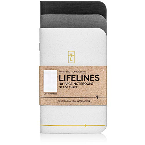 Lifelines Small Pocket Dotted Notebook Gold Line | Mini Journal for to-Do Lists, Memos, Sketches | Numbered Dot Grid Pages 3.5 x 5.5 inches (Pack of 3)