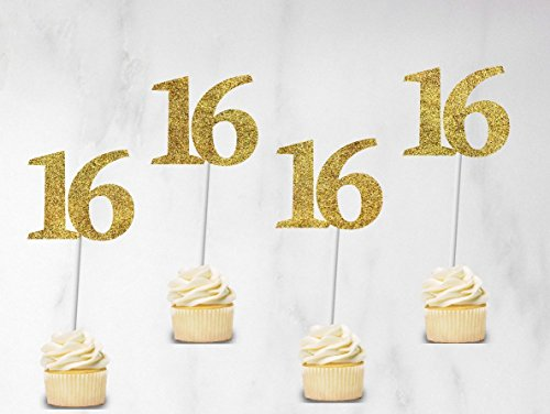 Sweet 16 cupcake toppers set of 12