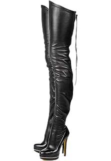 1a2459c524a0 termarnoov 2018 Women Thin High Heel Thigh High Boots PU Leather Platform  Booties Winter Zipper Over
