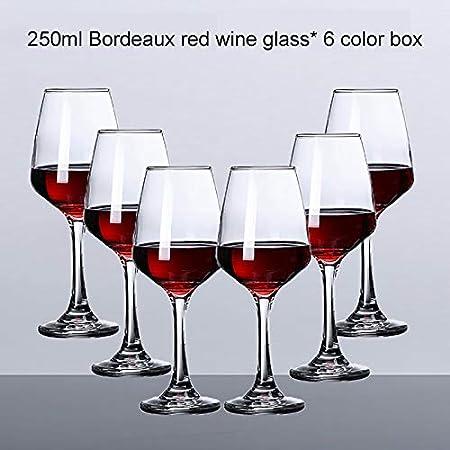 Juego de 6 copas de vino tinto, grandes copas de vino, sopladas a mano, copas de vino de tallo largo, cristal premium – degustación de vino, boda, aniversario, Navidad -350 ml 250 ml