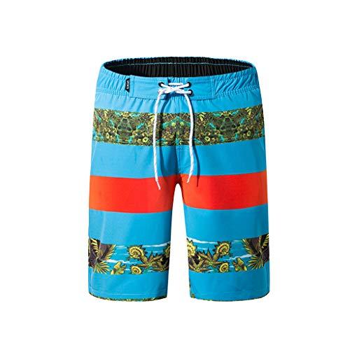 MODOQO Shorts Trunks for Men, Quick Dry Stripe Swim Trunks Bathing Suit Workout Beachwear(Blue,XXXL)