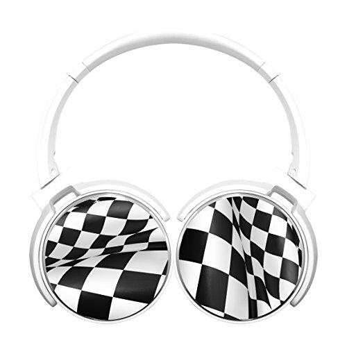 Bluetooth Headphones Computer Gaming Sleeping Headset Over Ear Earphone Racing Check Flag White (F1 Racing Flags)