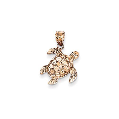 14K Gold Rose Gold Diamond Cut Turtle Pendant (0.59 in x 0.55 in) ()