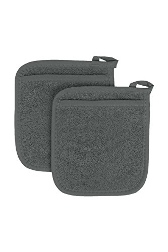 Ritz Royale Collection 100% Cotton Terry Cloth Pocket Mitt Set, Dual-Function Hot Pad / Pot Holder, 2-Piece, Graphite