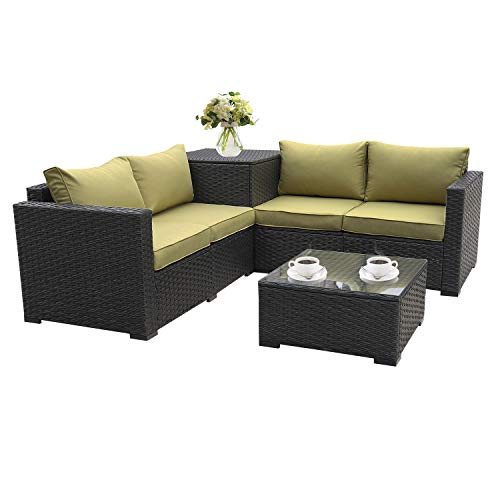 Patio PE Wicker Furniture Set 4 Piece Patio Black Rattan Sectional Loveseat Couch Set Conversation Sofa with Storage Table Olive Green Cushion