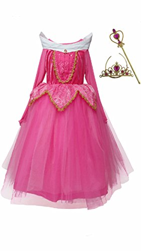 Aurora Puffy Dress, Tiara and Wand, 8-9 Years, Pink. - Sleeping Beauty Aurora Wand