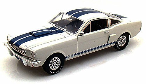 1965 Shelby GT350, White w/ Blue Stripes - Shelby Legend Series SC168-1/W - 1/18 Scale Diecast Model Toy - Series Model Shelby 1