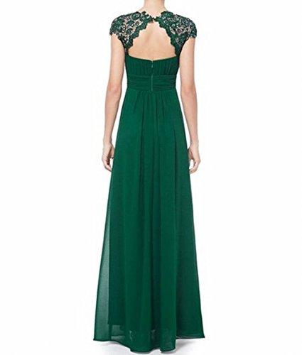 Gerüscht Rücken der Brustumfang Abendkleid Damen Schönheit offener Grün Grün Leader AXwxqZx