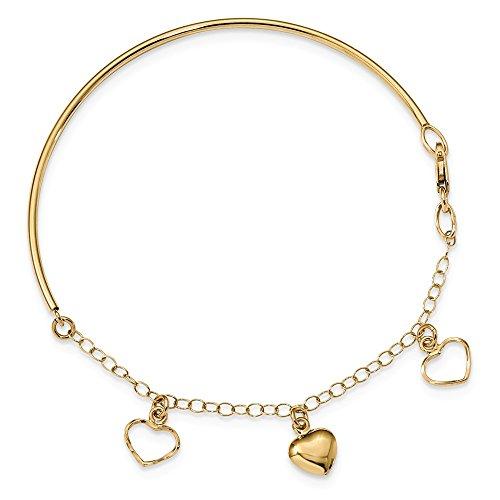 14kt Yellow Gold Mens Bracelet - 14kt Yellow Gold Polished Dangle Heart Chain Bracelet Bangle; 3 inch