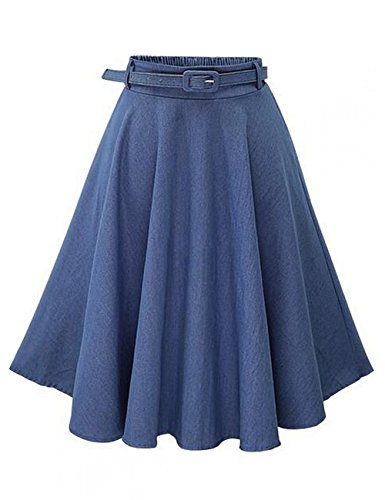 Leadingstar Women's Retro Vintage Pleated Denim High Waist Party Skater Skirt A Line Jeans Skirt with Belt-Light Blue 2