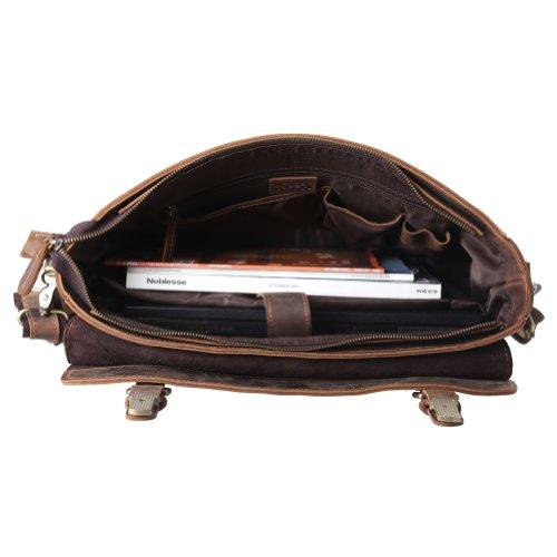Kattee Herren Damen Verrücktes Pferd Leder Handtasche Aktentasche schultertasche Umhängetasche Businesstasche