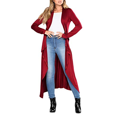 tamaño Open Red ZFFde Solid manga Outwear S Color Maxi causal Cardigan Mujeres larga Front Coat Irregular Invierno BEwqEr6Z