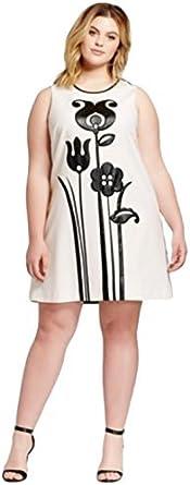 فستان نسائي من Victoria Beckham بلون أسود وأبيض مزين برسمة زهرة التوليب (1X)