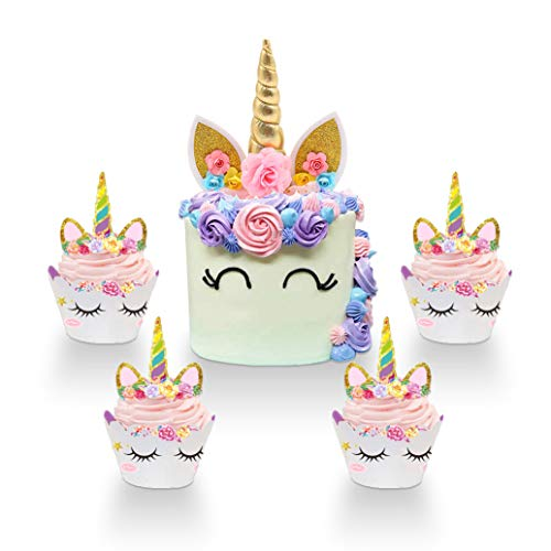 Unicorn Cake Topper Handmade Unicorn Horn Ears and Flowers Set Birthday Cake Decor-12 Wrappers Set & 1 Cupcake Toppers(Gold) ()