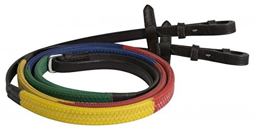 - Showman ® Multi-colored Red, Blue & Yellow English Training Rubber Reins