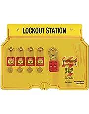 Master Lock 1482BP410 4-Padlock Capacity Lockout Station with Cover, Includes 4 Zenex Padlocks, Yellow