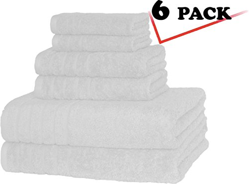 Williams Sonoma White Bed (700 GSM Premium, Luxury Hotel & Spa, Turkish Combed Cotton 6-Piece Towel Set for Maximum Softness and Absorbency by American Soft Linen,)
