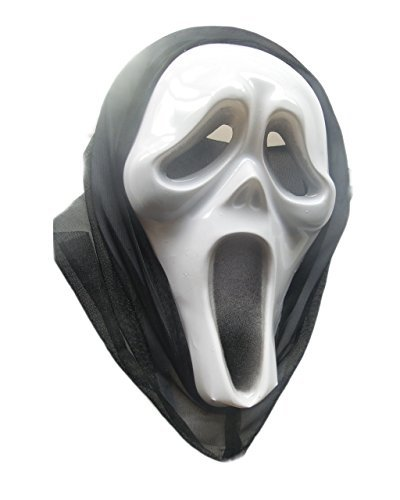 [by Angel Plastic Halloween Long Scary Mask in Black and White] (Satyr Halloween Costumes)