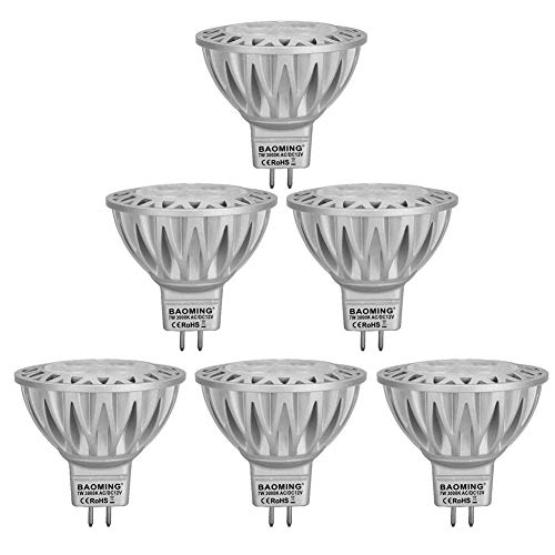 BAOMING 7W MR16 LED Bulb,Warm White(2700~3000K), Bi Pin GU5.3 Base 12V Spotlight,560/LM, 50~75W MR16 Halogen Equivalent,38 Deg, 6-Pack