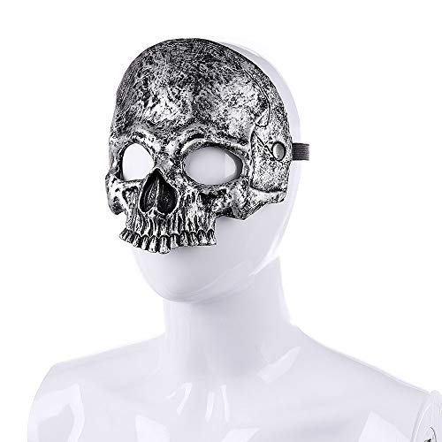 Nightlife Men's Scary Death Skull Half Face Mask Sliver -