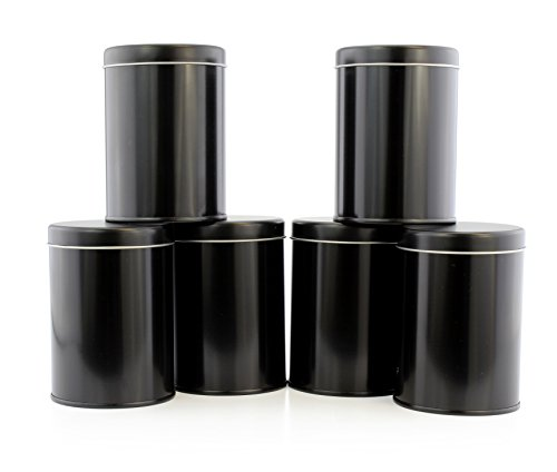 Double Seal Tea Canisters (6-Pack); Black Metal Round Tea Tins w/Interior Rubber Seal