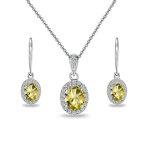 Sterling Silver Citrine & White Topaz Oval Halo Necklace & Leverback Earrings Set
