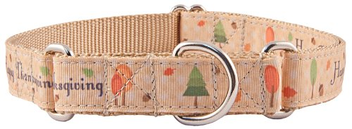 Country Brook Design Happy Thanksgiving Ribbon Martingale Dog Collar - Large