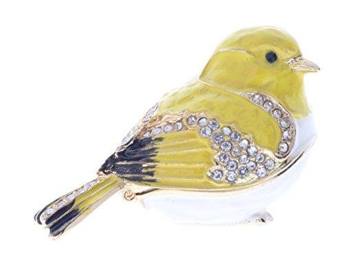 Goldfinch Bird Trinket Box, Clear Swarovski Crystal, Yellow & White Enamel, L 1.25 x H 1.50 x W 1.25