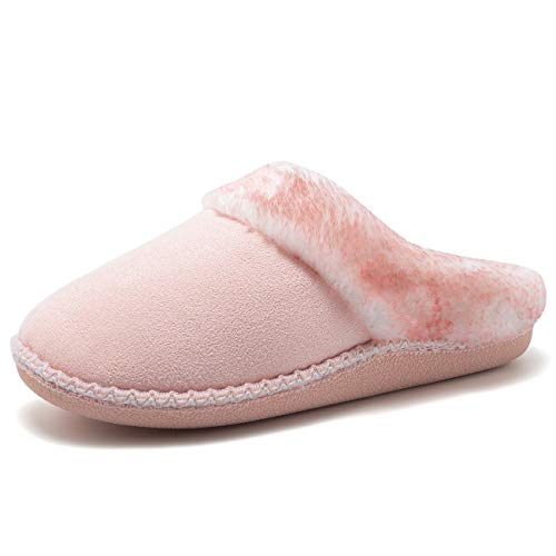 Fanture Women's House Slippers Micro Suede Faux Fur Lined Indoor & Outdoor Slip On House Shoes-U418WMT016-pink-40.41