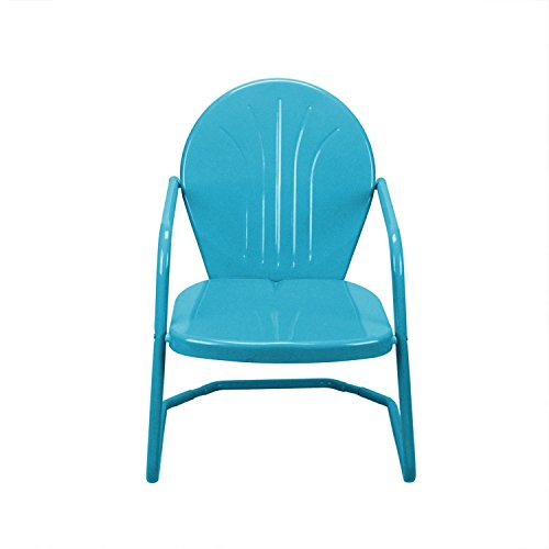 Retro Style 34 Inch Outdoor Metal Tulip Chair, Turquoise Blue