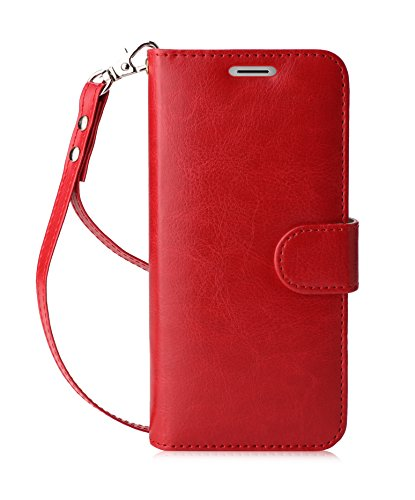FYY Luxury PU Leather Wallet Case for Samsung Galaxy S8, [Kickstand Feature] Flip Folio Case Cover with [Card Slots] and [Note Pockets] for Samsung Galaxy S8 Red