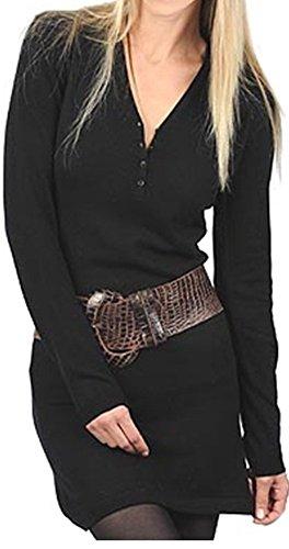 Damen Cashmere Ausschnitt Balldiri Kleid sexy 2 fädig schwarz V L 100 Kaschmir figurbetont Cqn4U5wtp4