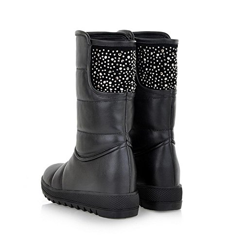 6 Boots Rhinestones Low with PU Womens Round Heels B Closed Black AmoonyFashion Soft US Toe 5 Solid Material M and Glitter qgaSvPw