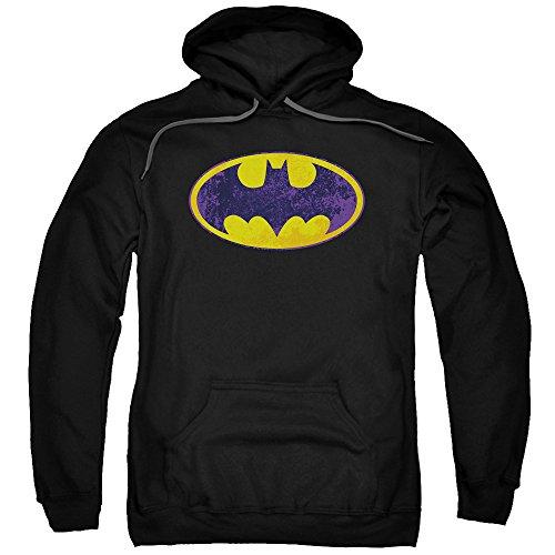 Batman DC Comics Neon Distressed Yellow&Purple Bat Logo Adult Pull-Over Hoodie ()