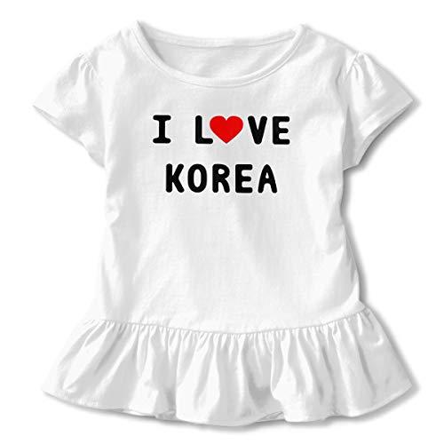 Toddler Girl Love Kpop Korean Sarang Hae Yo Kpop Short Sleeve Dress Ruffle T-Shirt Blouse Casual Clothes White]()
