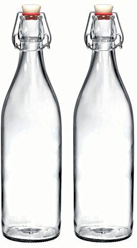 Bormioli Rocco Giara Clear Glass Bottle With Stopper, 33 3/4