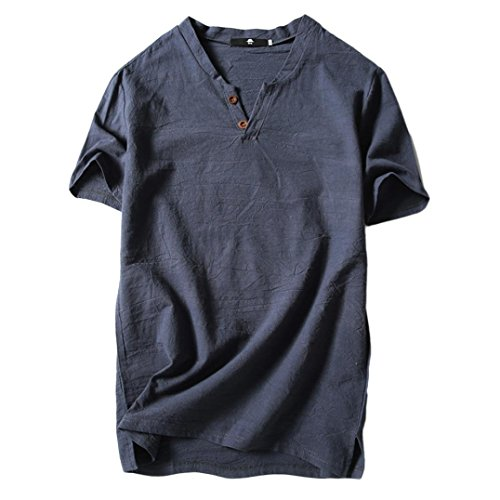 Price comparison product image Dacawin Men's Blouse Summer Casual Linen and Cotton Short Sleeve V-Neck T-Shirt Top (Grey,  XL)