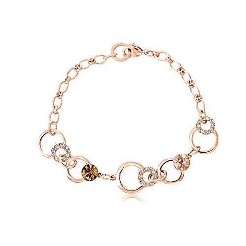 Crystal Pave Link Bracelet - Lulu Dharma Limited Time Sale Swarovski Crystal Bracelets, Silver Bracelet, Link Bracelet, Fashion Bracelet, Pave Bracelet, Chain Jewelry, (Chocolate Champagne, rose-gold-plated-base) - MSRP $78