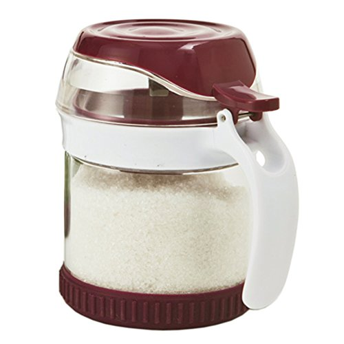 Glass with handle Spice jar Glass cruet Household use Salt shaker Sugar bowl Seasoning Storage box (Milk Glass Covered Jar)