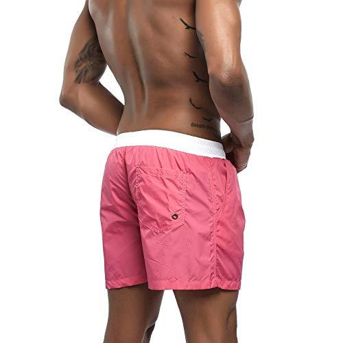 Short Uomini Spiaggia Asciutta Surf Pantaloncini Coulisse Veloce Amlaiworld Pantaloni Running Rosa Casual Moda 5wIqav