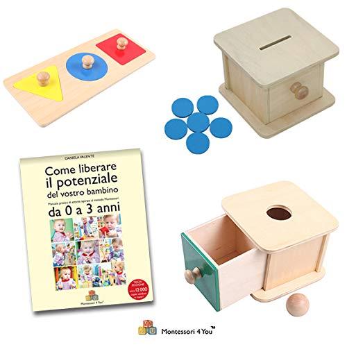 Maxi Set Prima Infanzia Montessori, Libro + Scatola Palla + Scatola Gettoni + Incastri 3 Forme